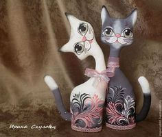 Pottery Animals, Doll Painting, Cute Cats And Dogs, Paper Stars, Soft Sculpture, Paper Mache, Cat Art, Decor Crafts, Whimsical