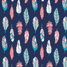 Stoff grafische Muster - Stoff Patchwork blau Federn grau türkis koralle - ein Designerstück von Naehhimmel bei DaWanda