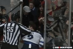 Winnipeg Player Loses Helmet and Gets a Beer Shower in Chicago | FatManWriting