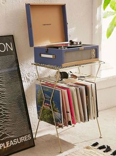 Metal Vinyl Storage Shelf - Urban Outfitters PLUS the record player. Storage Rack, Storage Shelves, Storage Spaces, Shelf, Music Corner, Vinyl Record Storage, Rack Design, Shabby Chic Style, My New Room