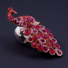 Peacock Napkin Rings Featuring Red Swarovski © Crystals | Set of 2
