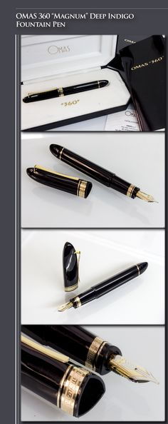 OMAS 360 Deep Indigo Fountain Pen - Version 1 (cotton-resin body, gold-plated trim, 18kt gold dual-tone nib) - 1990s / Italy