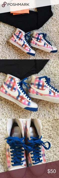 FUN Multicolored NIKE High Tops 🌈 Size 9.5 NIKE HIGH TOPS with sequined checkered blue, pink, and red pattern! So fun!! Nike Shoes Sneakers