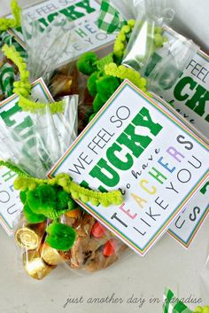 Teacher Gifts : Just Another Day in Paradise: LUCKY To Have Teachers Like You {printable} Teacher Candy Gifts, Teacher Treats, Teacher Appreciation Week, Employee Appreciation, Volunteer Gifts, Staff Gifts, Client Gifts, St Patricks Day Food, Little Presents