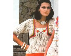 Vintage Camisole Crochet Pattern Rose Filet Crochet Camisole
