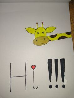 Easy pencil drawing giraffe that says hi Easy Drawings, Pencil Drawings, Giraffe Drawing, Home Decor, Decoration Home, Room Decor, Home Interior Design, Home Decoration, Pencil Art