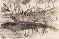 Paula Modersohn-Becker - Worpsweder Landschaft mit zwei Ziegen; Creation Date: 1902; Medium: Charcoal