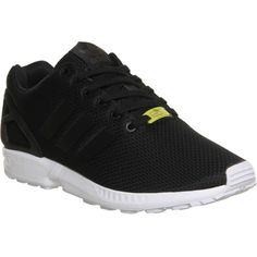 ADIDAS ZX Flux trainers (£50) ❤ liked on Polyvore featuring shoes, sneakers, black white, laced up shoes, black and white sneakers, adidas footwear, lacing sneakers and black and white lace up shoes