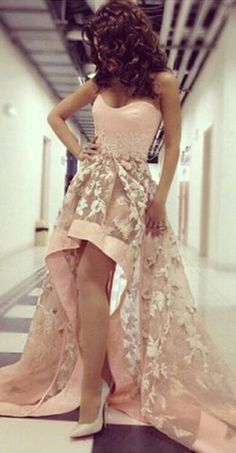 High Low Prom Dresses,Blush Pink Evening Gowns,Modest Formal