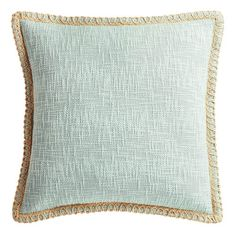 Comfort and style combine in our jute-trimmed cotton pillow. Soft to the touch with nice loft and a cool mineral hue, it will maintain its simple good looks for many seasons to come. Metal Clothes Rack, Accent Pillows, Throw Pillows, House Shelves, Natural Bedroom, Sea Glass Colors, Chunky Knit Throw, Wooden Stools, Cotton Pillow