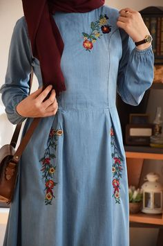 Anysize lantern style with side pockets soft linen&cotton loose dress Spring Summer Fall dress plus Kurti Embroidery Design, Embroidery Fashion, Stylish Dress Designs, Stylish Dresses, Stylish Dress Book, Kurta Designs Women, Blouse Designs, Estilo Abaya, Abaya Mode