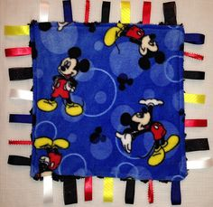 Mickey Mouse Minky Tag Blanket by CashAndCari on Etsy, $15.00
