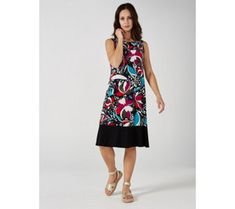 Ronni Nicole Scoop Neck Sleeveless Dress with Contrast Hem - 179329 Qvc Uk, Ronni Nicole, Just Shop, Color Blocking, Hemline, Contrast, Scoop Neck, Summer Dresses, Colour