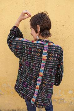 Guatemalan Kimono Created from Vintage Handwoven Indigo Ikat Corte/Skirt