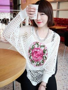 Embroidery hollow-out pullover sweater , flower embroidered white pullover, fashion women round neck hollow-out sweater #embroidery #hollow-out #pullover #sweater www.loveitsomuch.com