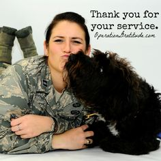 We are grateful for all who serve!  Caption: Capt. Carmella Burruss, 22nd Operations Support Squadron deputy chief of wing intelligence, poses for a photo with Valco at McConnell Air Force Base, Kan. Valco is a Labrador-Poodle mix who has been training with Burruss to get his certification from Therapy Dog International so he can work in Veterans Affairs hospitals. (U.S. Air Force photo by Airman 1st Class Jenna K. Caldwell. Used with permission.) #therapydog #labradoodle #USMilitary #USAF