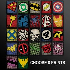 Set of 8 Superhero Kids Wall Art Decor by TheCuttingEdgeShop