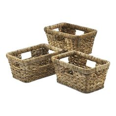 Windward Rectangle Palm Weave Baskets - Set of 3 | Nebraska Furniture Mart