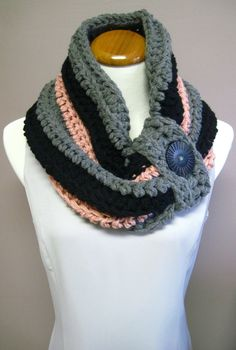 Chunky Bulky Button Crochet Cowl: Gray, Black and Mauve Pink with Black Button, via Etsy