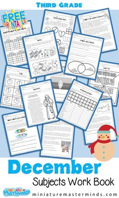 170+ Page Third Grade December Worksheet Book With Several Different Subjects Explore the Christmas season with math, language arts, writing, science, social studies, music, art, Bible, and more… More Free Worksheets For Kids, Bible Object Lessons, Page Three, Classroom Activities, Christmas Activities, Christmas Books, Third Grade, Homeschooling, December