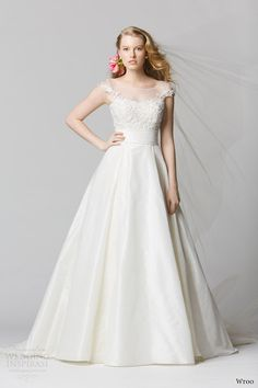 I LIKE THIS TOP AND WIDE BELT MAKES U LOOK SKINNY.     wtoo watters spring 2014 bridal illusion cap sleeve wedding dress 12450 toscana