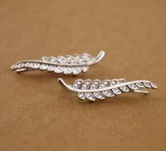 Sterling Silver CZ Branch Leaves Feather Cuff Climber Crawler Earrings A4080 #Cuff