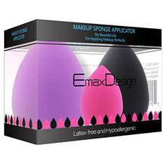 EmaxDesign 3 pièces Blender éponge de maquillage, fond de teint Blush Estompeur Correcteur Yeux Visage Poudre Crème Maquillage sponges.…