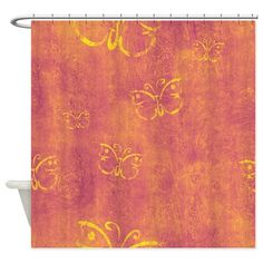 Purple And Yellow Butterflies Shower Curtain on CafePress.com