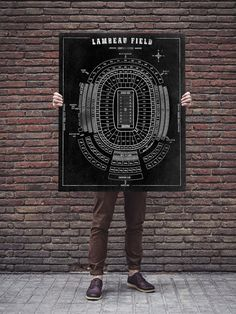 Lambeau Field Football Stadium Print Blueprint On Canvas Nfl Green Bay Packers…