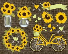70% OFF SALE Sunflowers Clipart - Vector Sunflowers Clipart, Rustic Clipart, Sunflower Wreath, Burlap Clipart, Vector Sunflower Clip Art