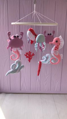 Baby girl mobile with crab and pink whale, baby mobile , felt mobile sea horse , crib mobile with octopus Felt Diy, Handmade Felt, Felt Crafts, Diy And Crafts, Baby Room Design, Baby Room Decor, Nursery Decor, Baby Bedroom, Baby Mobile Felt