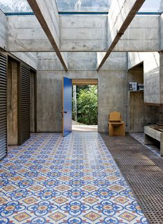 Architect Paulo Mendes da Rocha via Interior Design magazine.Handmade tiles can be colour coordinated and customized re. shape, texture, pattern, etc. by ceramic design studios Interior Architecture, Interior And Exterior, Interior Design, Casa Patio, My Dream Home, New Homes, House Design, Inspiration, Concrete Walls