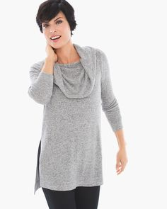 """Styled on or off the shoulder, this cowl-neck top can take any style direction and run with it, from cozy nights in to weekends out and about.   Mixable, matchable, cozy-chic Zenergy®: live in, lounge in, love.  Long sleeves.  High-low hem.  Regular Length: longest point 34"""".  Petite Length: longest point 32.25"""".  Rayon, polyester and spandex.  Machine wash. Imported."""