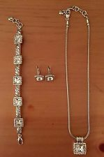 "Unique Jewelry - NEW NWOT BRIGHTON ""REGINA"" SILVER NECKLACE EARRINGS BRACELET SET ($136) POUCHES"