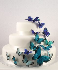 Butterfly Spring Wedding Party Cake Topper Decoration Set Hand Painted Feathers | eBay