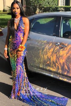 Shiny rainbow paillette sequin slim mermaid floor length fashion long prom dress with court train. Halter deep V neckline. Black Girl Prom Dresses, Cheap Prom Dresses, Homecoming Dresses, Girls Dresses, Long Dresses, Mermaid Gown Prom, Long Dress Design, Prom Outfits, Prom Looks