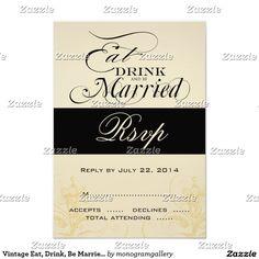 Vintage Eat, Drink, Be Married Wedding RSVP Cards