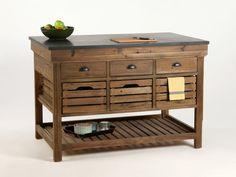 Ilot de cuisine CAPE COD avec tiroirs et niches Longueur 130cm prix promo Meuble…