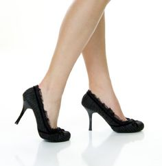 nice Pinstripe Black White Lace Pin up Heels Rockabilly Shoes Size 11