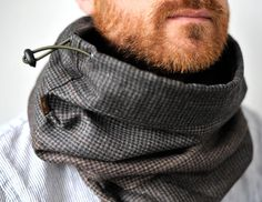 Snock™, unisex hooded cowl in patchwork wool/cotton blend + brown fleece lining, mens snood, cowl men, scarf, tube scarf, scarf man, mens