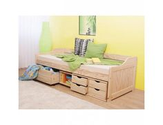 Pat de o persoană 90 cm Mangu (masiv, cu somieră) Thing 1, Toddler Bed, House Design, Storage, Children, Modern, Table, Furniture, Home Decor