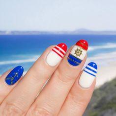 Nautical nail art with beach vacation nail stickers Nail Polish Designs, Nail Designs, Nautical Nail Art, Marine Look, Wedding Nail Polish, Vacation Nails, Easter Nail Art, Nailart, Beach Nails