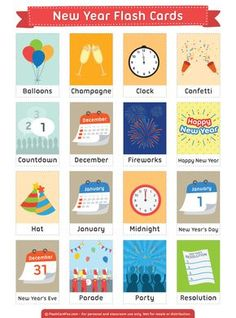 Free printable New Year flash cards. Download them in PDF format at http://flashcardfox.com/download/new-year-flash-cards/