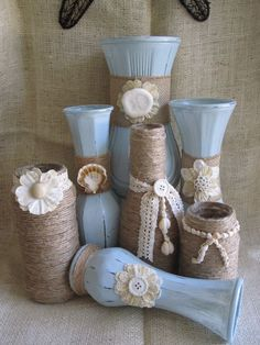 7 shabby chic beachy painted upcycled vases. Each vase was carefully chosen and first painted with milk glass then a pale shade of blue in chalk