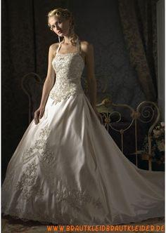 Elegantes Brautkleid aus Satin A-Linie mit Applikation online 2013