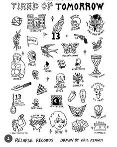 """""""Philadelphias NOTHING have partnered with 15 tattoo shops across the globe to offer fans custom Tired of Tomorrow tattoos this coming Friday May in celebration of the new albums release! The tattoos designed by Eric Kenney"""" thanks by heavyslime 13 Tattoos, Kritzelei Tattoo, Doodle Tattoo, Neue Tattoos, Piercing Tattoo, Tattoo Shop, Body Art Tattoos, Small Tattoos, Cool Tattoos"""