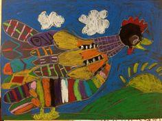 Tinga Tinga Tales elementary art lesson project oil pastel crayon chicken animals