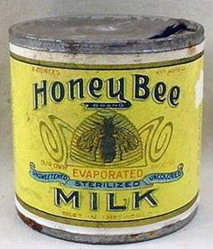 Vintage Honey Bee evaporated milk tin can