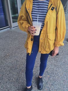 Korean fashion - blue striped top, jeans, yellow anorak and black shoes