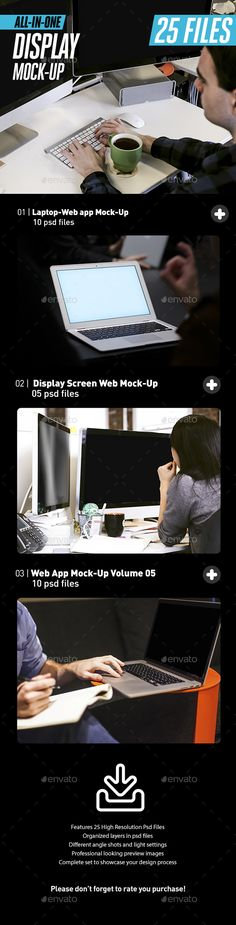 Laptop iMac Display Web App Mock-Up Bundle All-in-One by itscroma Save money聽with our聽Responsive Display Bundles! Laptop iMac Display Web App Mock-Up Bundle All-in-OneSpecial for website devel Display Mockup, Retina Display, Mockup Photoshop, Web Mockup, Print Templates, Design Templates, Business Card Mock Up, Blogger Templates, Presentation Templates
